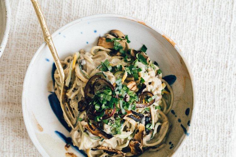 vegetarische pasta champignon