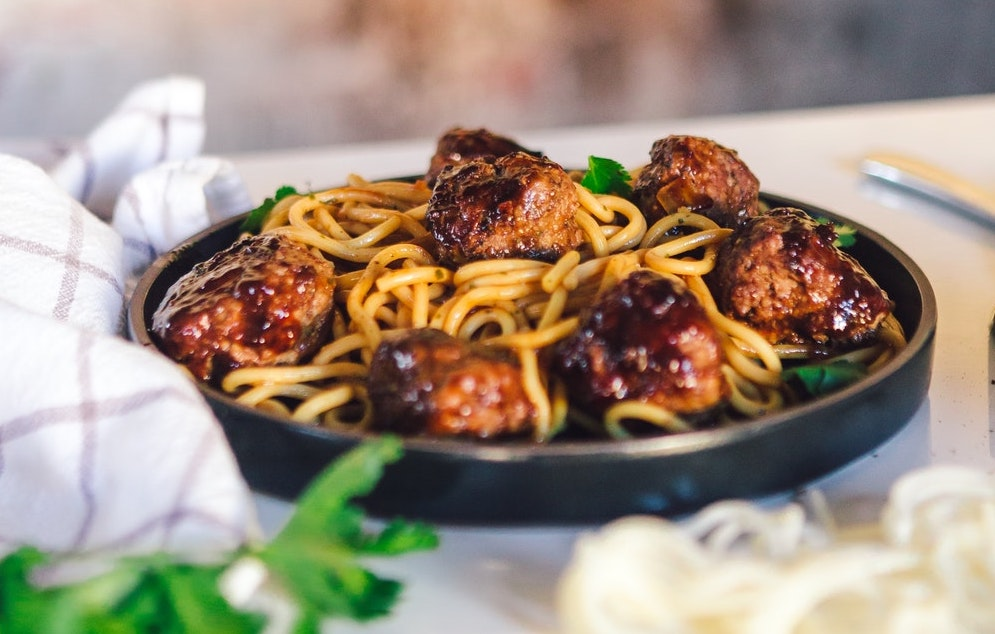 Spaghetti met vegetarische gehaktballetjes