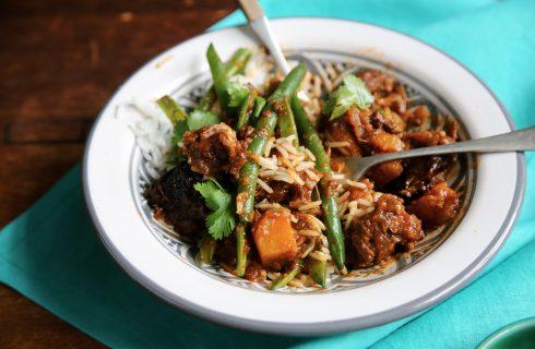 Overheerlijke spicy sajoer boontjes met rijst