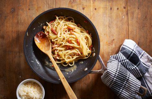 Gezonde pasta a la carbonara, zonder room!