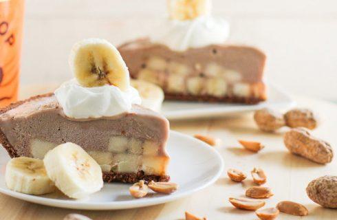 Gezonde pindakaas, banaan en chocoladetaart