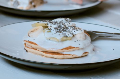Amazing almond pancakes with coconut yoghurt
