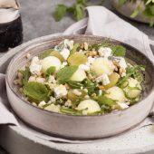 Salad time! Garnalen met blauwe bessen en watermeloen