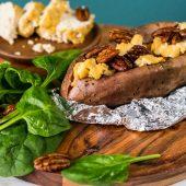 Vegan: Portobello miso burger met guacamole