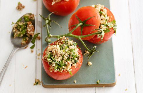 Kruidig gevulde tomaten met quinoa