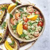 Recept: parelcouscoussalade met gegrilde aubergine
