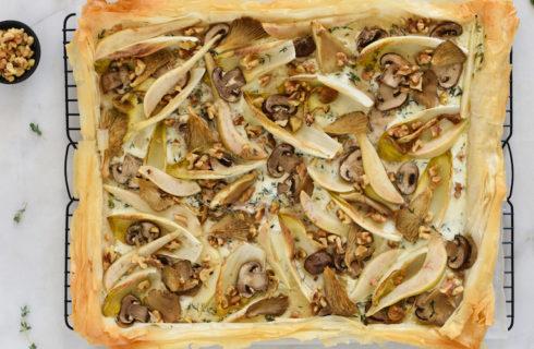 Recept: paddenstoelen plaattaart met peer