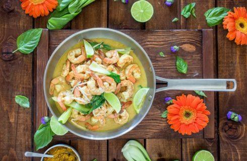 Recept: pittige Thaise groene curry met garnalen