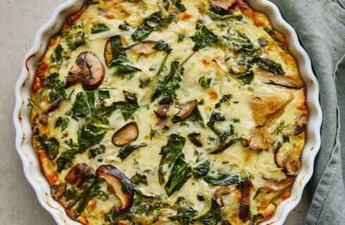 recept: vegetarische quiche met paddestoelen en spinazie