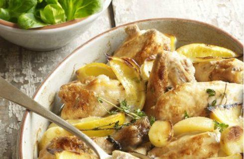 Citroen kip met aardappeltjes uit de oven