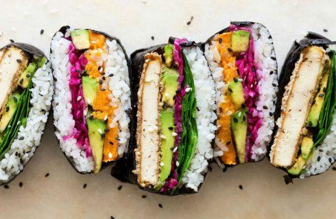 Japanse sushi sandwich met wasabi mayonaise