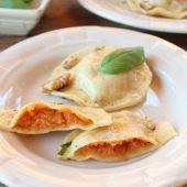 Spinazie ravioli met champignons, uitgebreid en lekker!