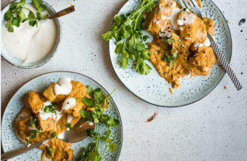 Glutenvrije mango curry met tofu (vegan)