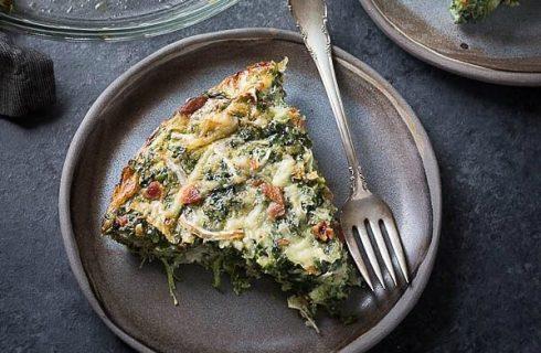 Koolhydraatarme quiche met spinazie en feta!