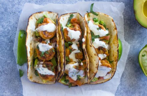 Heerlijke gevulde taco's met romige garnalen