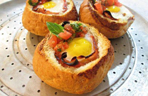 Een heel lekker broodje ei bereid uit de oven