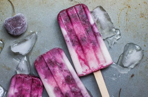 Zelfgemaakte kokos kersen ijsjes!